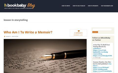 Screenshot of Blog bookbaby.com - lesson In storytelling | BookBaby Blog - captured Feb. 27, 2017