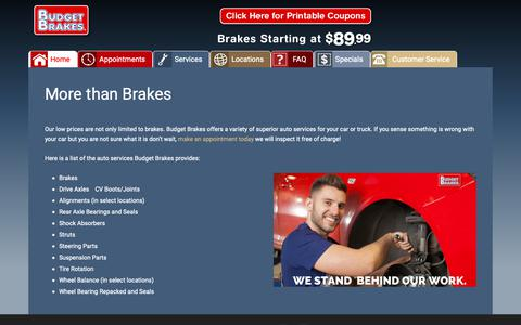 Screenshot of Services Page budgetbrakes.com - Brake Specials & Coupons in Alabama, Florida & Tennessee - captured Nov. 6, 2018