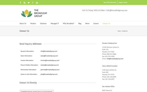 Screenshot of Contact Page broadleafgroup.com - Contact Us - The Broadleaf Group - captured Oct. 4, 2014