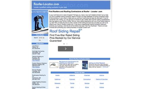 Screenshot of Home Page roofer-locator.com - Find Roofers and Roofing Contractors at Roofer - Locator .com - captured March 24, 2016