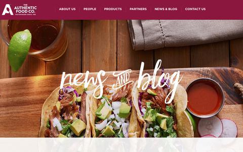 Screenshot of Press Page tafc.com - News & Blog | The Authentic Food Co. - captured Nov. 5, 2017