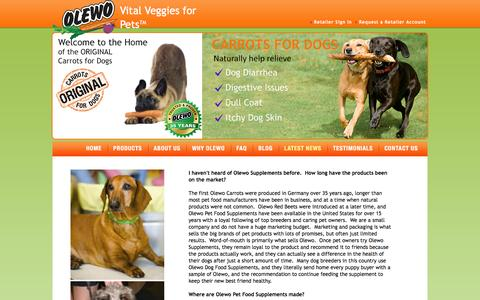 Screenshot of FAQ Page olewousa.com - Carrots for Dogs - captured March 5, 2016
