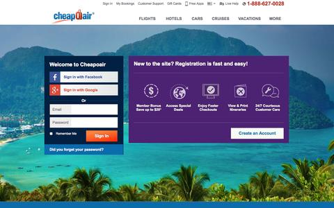 Screenshot of Login Page cheapoair.com - My Account-UserProfile - captured Sept. 19, 2014