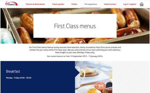 Screenshot of Menu Page virgintrains.co.uk - First Class Menu - Experience - Virgin Trains - captured Nov. 24, 2015