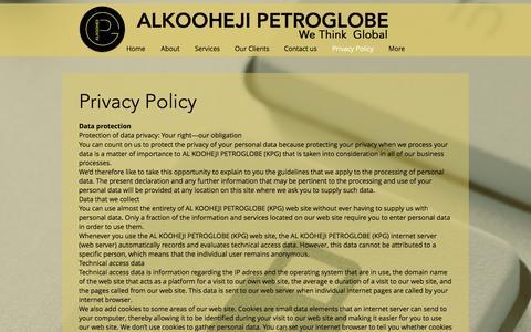 Screenshot of Privacy Page koohejipg.com - Al Kooheji PetroGlobe | Energy, Recruitment Consultancy | Bahrain | Privacy Policy - captured Nov. 20, 2016