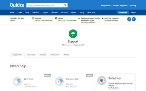 Screenshot of Support Page quidco.com - Help | Quidco - captured Oct. 9, 2017