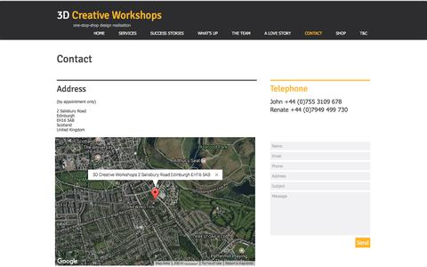Screenshot of Contact Page 3dcreativeworkshops.co.uk - Contact 3D Creative Workshops, Edinburgh, Scotland, 3D Design Agency - captured Nov. 16, 2017