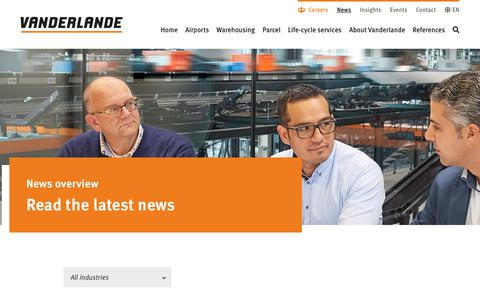 Screenshot of Press Page vanderlande.com - Vanderlande - News - captured Aug. 28, 2019