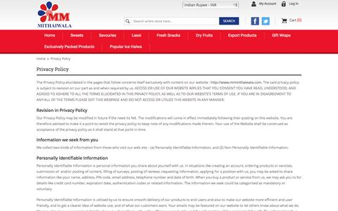 Screenshot of Privacy Page mmmithaiwala.com - Privacy Policy - captured Nov. 16, 2016