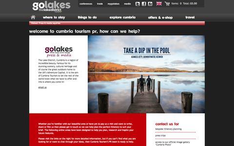Screenshot of Press Page golakes.co.uk - Cumbria Tourism | Press & Media Information - captured Oct. 31, 2014