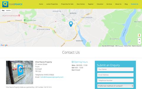 Screenshot of Contact Page clivepearceproperty.com - Contact Us - Clive Pearce Property - captured July 19, 2018