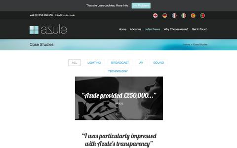 Screenshot of Case Studies Page azule.co.uk - Case Studies of Asset Finance solutions   Azule Finance - captured Nov. 21, 2016
