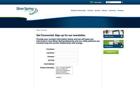 Screenshot of Signup Page silverspringnet.com - Newsletter - captured Oct. 20, 2015