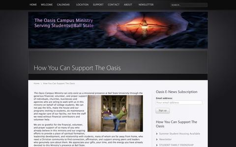 Screenshot of Support Page bsuoasis.org - How You Can Support The OasisThe Oasis - captured Oct. 8, 2017