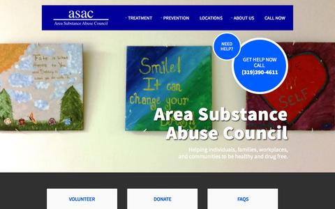 Screenshot of Home Page asac.us - Home - ASAC | Area Substance Abuse Council - captured Sept. 11, 2015