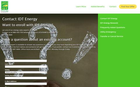 Screenshot of idtenergy.com - Contact IDT Energy Customer Service | IDT Energy - captured Oct. 2, 2015