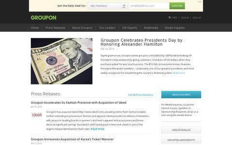 Screenshot of Press Page groupon.com - Groupon Press | Groupon.com - captured July 18, 2014