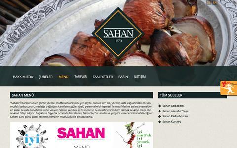 Screenshot of Menu Page sahan.com - Sahan Restoran Menü - captured May 8, 2016