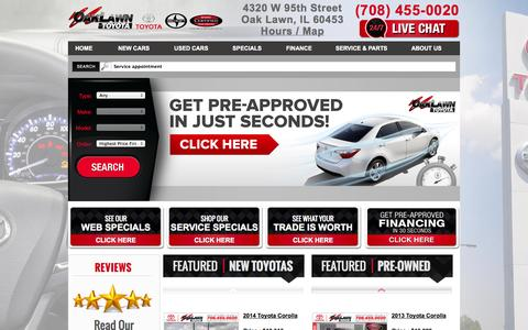 Screenshot of Home Page oaklawntoyota.com - Toyota Dealers In Chicago - Oak Lawn Used Cars - Oak Lawn Toyota - captured Sept. 30, 2014