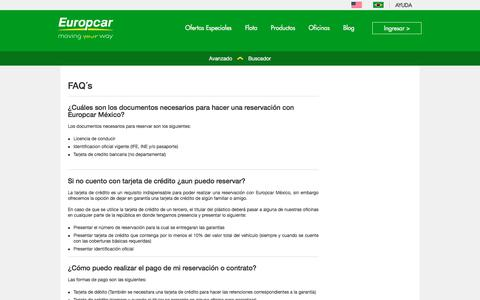Screenshot of FAQ Page europcar.com.mx - Preguntas frecuentes | Europcar México - captured July 12, 2017