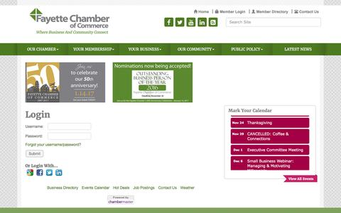 Screenshot of Login Page fayettechamber.org - Login - Fayette Chamber of Commerce , GA - captured Nov. 25, 2016