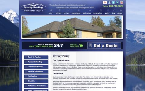 Screenshot of Privacy Page bcroofing.ca - BQR Systems Ltd. | Privacy Policy - captured Oct. 5, 2014