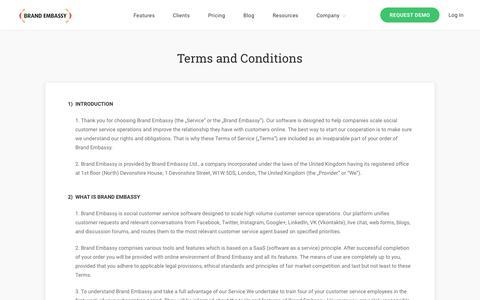 Screenshot of Terms Page brandembassy.com - Terms and Conditions |  Brand Embassy - captured Nov. 10, 2016