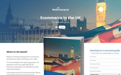 Screenshot of Landing Page webinterpret.com - Ecommerce in the UK: the definitive guide - captured Sept. 13, 2017