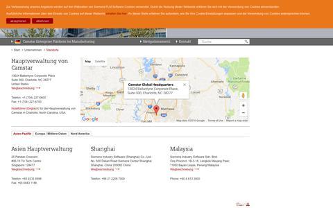 Screenshot of Locations Page siemens.com - Standorte   Camstar Enterprise Platform for Manufacturing [Deutsch] - captured Dec. 28, 2016