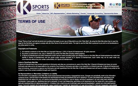 Screenshot of Terms Page ksportsent.com - Terms of Use «  K Sports & Entertainment :: Full Service Sports Agency | Athlete Marketing | Corporate Consulting | Sponsorship Sales | NFL Representation - captured Oct. 2, 2014