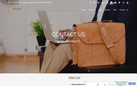 Screenshot of Contact Page solace-engineers.com - Contact – SOLACE Engineers - captured Oct. 1, 2018