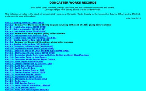 Screenshot of Home Page doncasterworksrecords.org.uk - DONCASTER WORKS RECORDS; Boiler Orders and Numbers, by Maurice G. Boddy - captured June 30, 2018