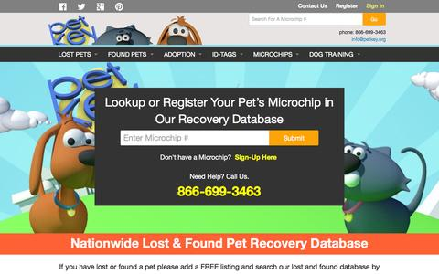 Screenshot of Home Page petkey.org - Pet Microchip ID Lookup & Registration for Dogs & Cats - captured Oct. 2, 2015