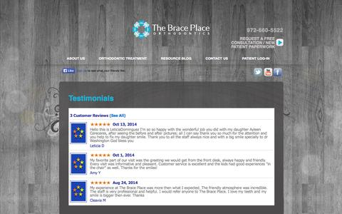 Screenshot of Testimonials Page braceplace.net - Testimonials | The Brace Place - captured Nov. 4, 2014