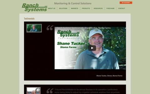 Screenshot of Testimonials Page ranchsystems.com - Testimonials     Ranch Systems - captured Dec. 10, 2016