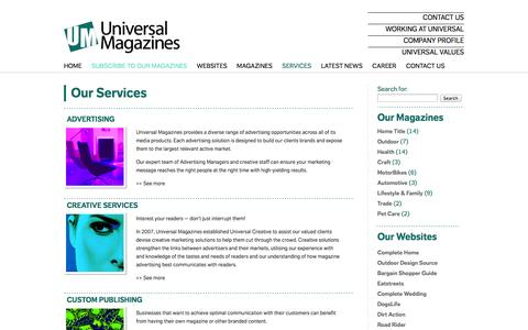 Screenshot of Services Page universalmagazines.com.au - Our Services - Universal Magazines - captured Sept. 25, 2014