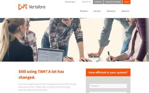 Screenshot of Landing Page vertafore.com - Still using TAM? A lot has changed. - captured Aug. 20, 2016