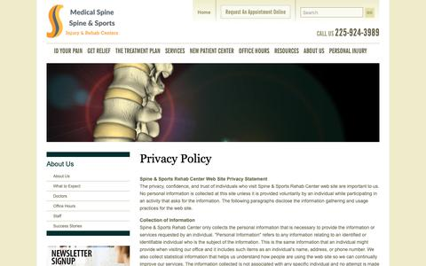 Screenshot of Privacy Page docshay.com - Privacy Policy | Spine & Sports Rehab Center - captured Sept. 27, 2018