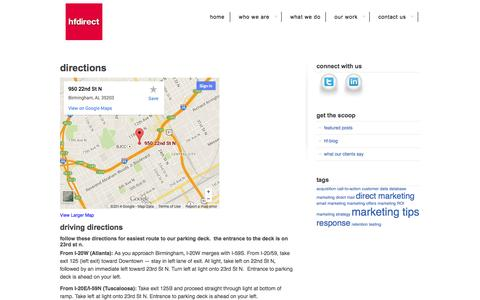 Screenshot of Maps & Directions Page hfdirect.com - Directions | HF Direct - captured Sept. 26, 2014