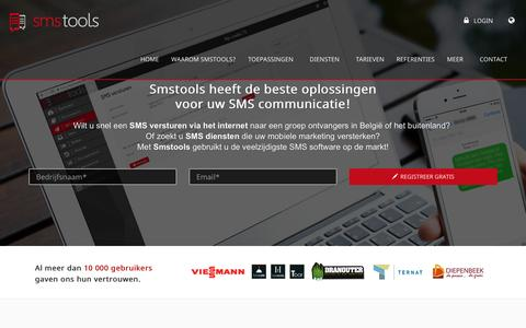 Screenshot of Home Page smstools.be - SMS Gateway - Bulk SMS Software - Mail2SMS - SMS api - België & Nederland - captured March 11, 2017
