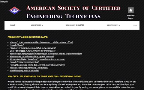 Screenshot of FAQ Page ascet.org - American Society of Certified Engineering Technicians - FAQ's - captured Oct. 8, 2017