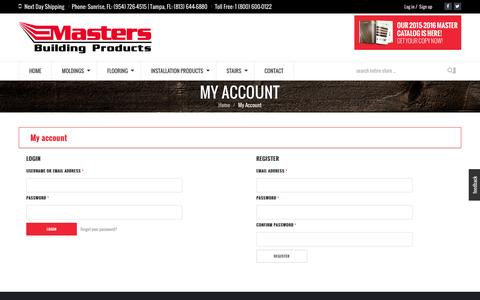 Screenshot of Signup Page Login Page mastersbp.com - My Account - Masters Building Products - captured Feb. 12, 2016
