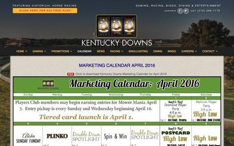 Screenshot of kentuckydowns.com - Calendar - Kentucky Downs - captured April 2, 2016