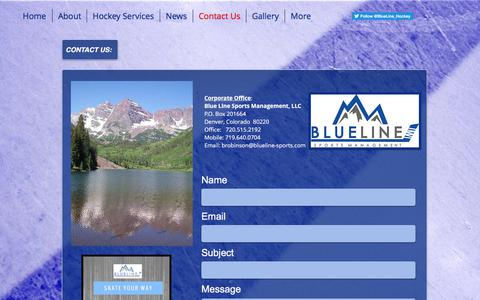 Screenshot of Contact Page blueline-sports.com - Blue Line Sports Management, LLC - Hockey Agency & Family Advisors | Contact Us - captured Oct. 10, 2017