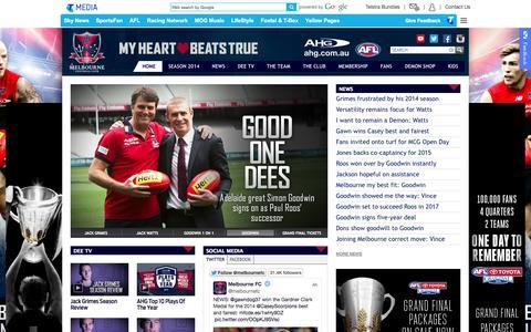 Screenshot of Home Page melbournefc.com.au - Official AFL Website of the Melbourne Football Club - captured Sept. 23, 2014