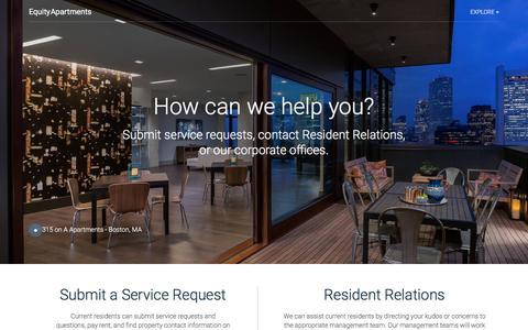 Screenshot of Contact Page equityapartments.com - Contact | EquityApartments.com - captured July 1, 2018
