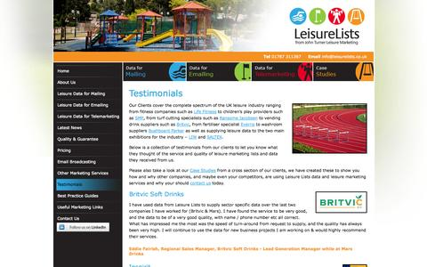 Screenshot of Testimonials Page leisurelists.co.uk - Leisure Database Company   John Turner Leisure Lists   Leisure Lists   John Turner Leisure Marketing - captured Sept. 29, 2014
