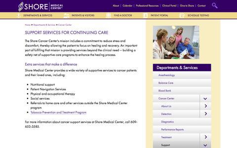 Screenshot of Support Page shoremedicalcenter.org - Support | Shore Medical Center - captured June 13, 2017
