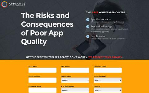 Screenshot of Landing Page applause.com - Risks and Consequences of Poor App Quality - Applause: 360° App Quality - captured March 17, 2016