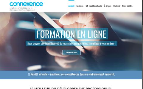 Screenshot of Home Page connexence.com - Connexence | Leader dans le développement professionnel - captured Nov. 5, 2018